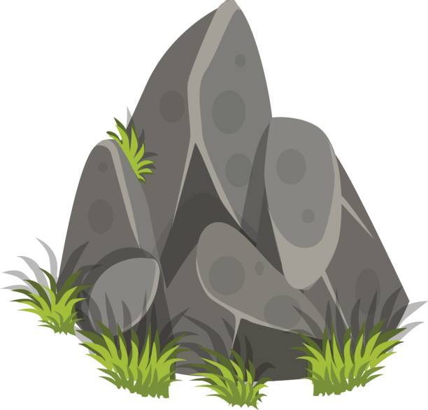 Pencil and in color. Clipart grass rock
