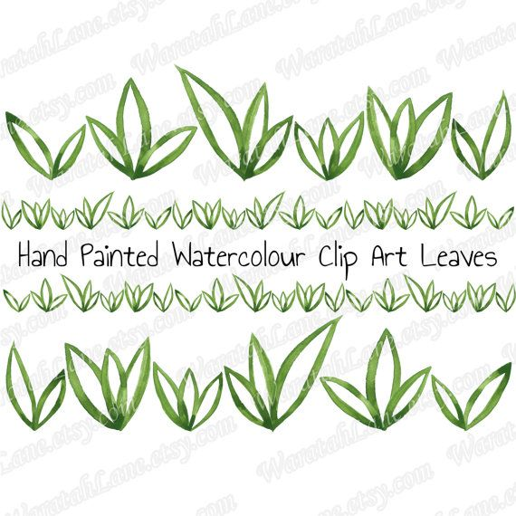 Watercolor clip art leaves. Clipart grass row