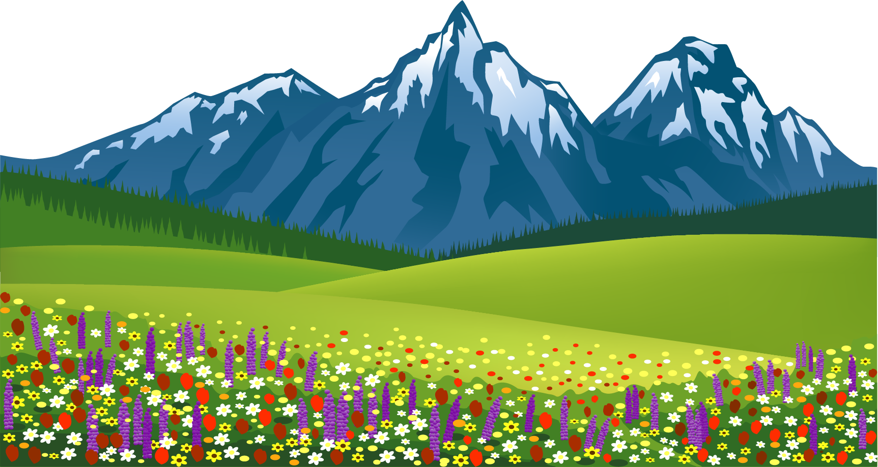Hd mountain with flowers. Clipart grass scenery