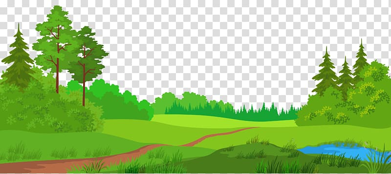 Forest lake and trees. Clipart grass scenery