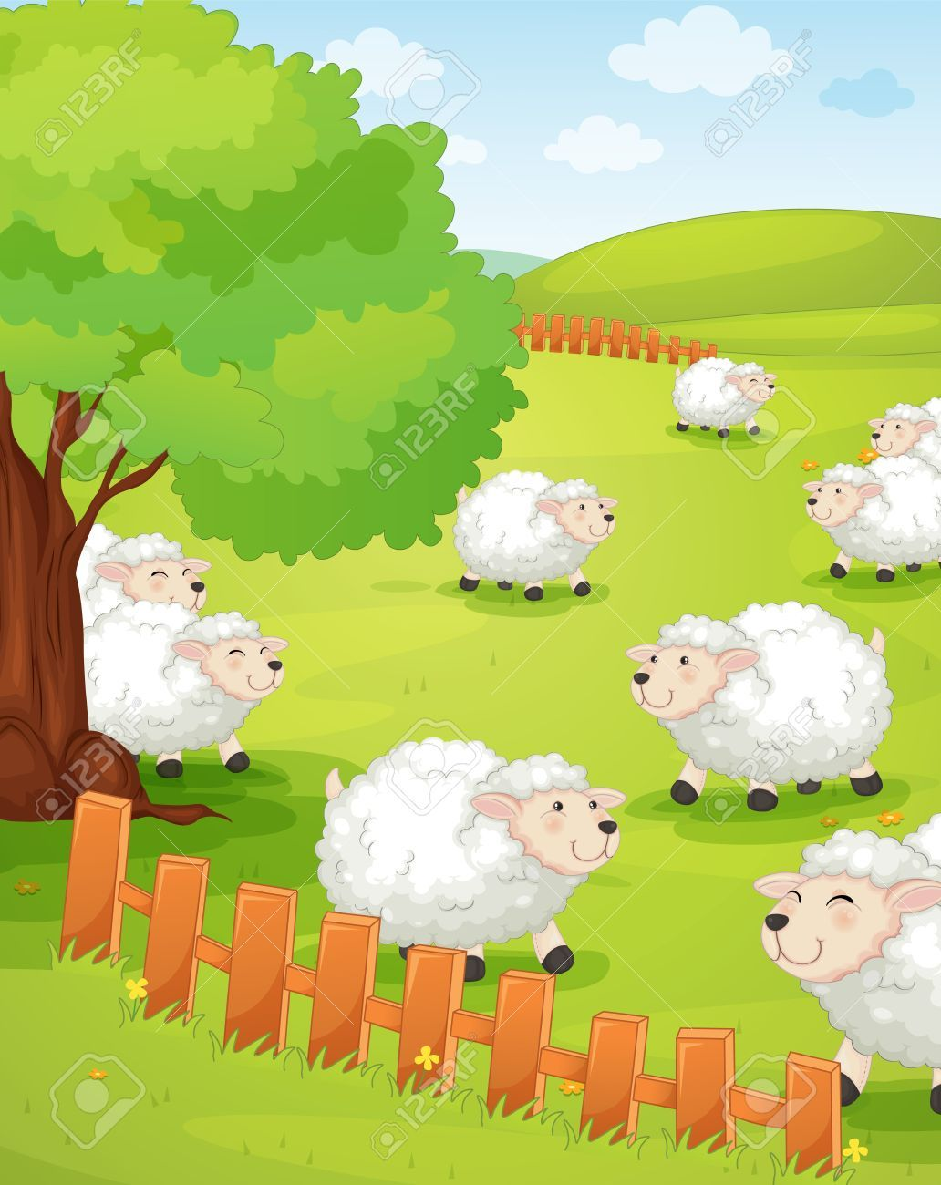 Stock vector rubber stamps. Clipart grass sheep