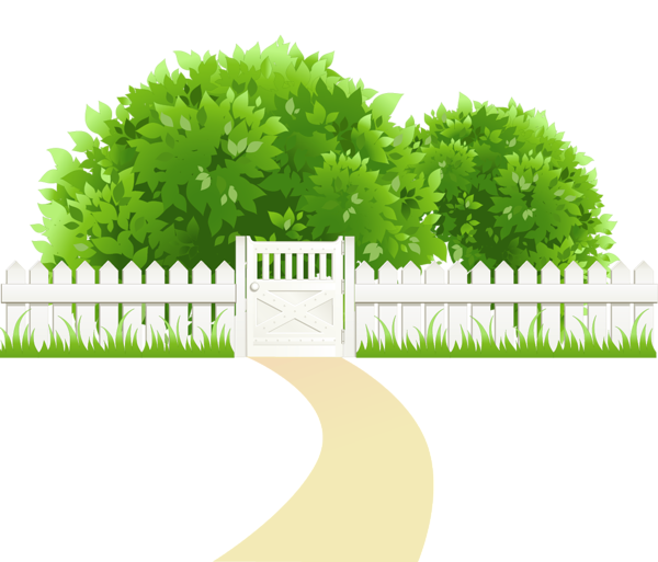 Path with fence and. Gardening clipart agriculture science