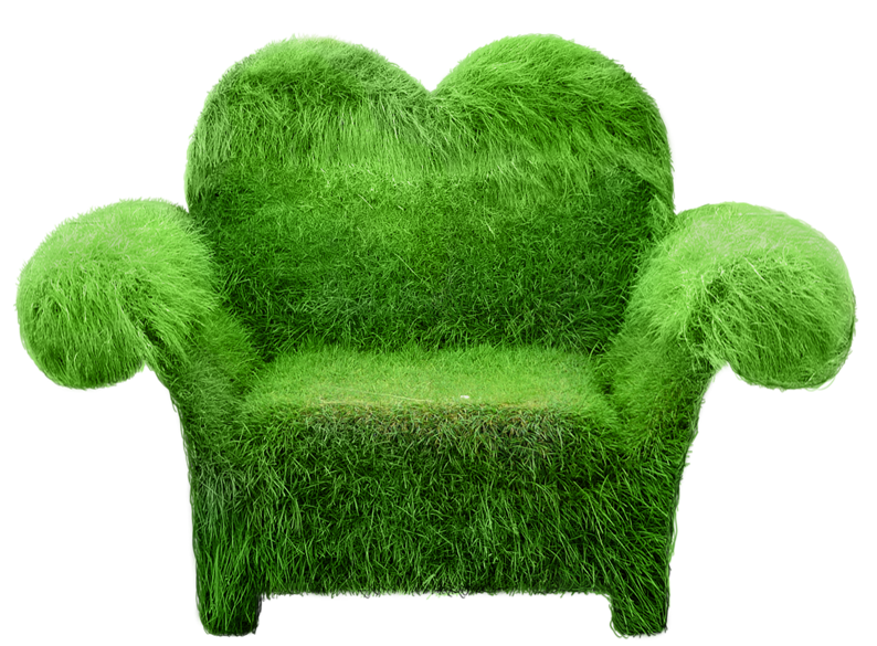 Transparent topiary heart seat. Clipart grass single