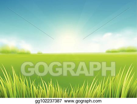 Clipart grass sun. Eps illustration summer meadow