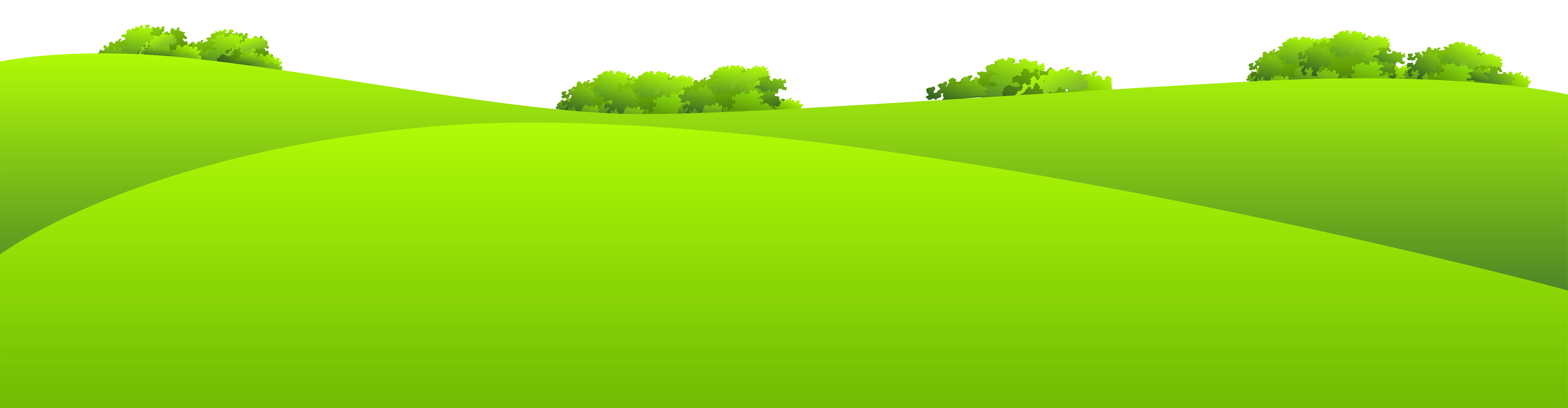 Green meadow with shrubs. Clipart grass sun