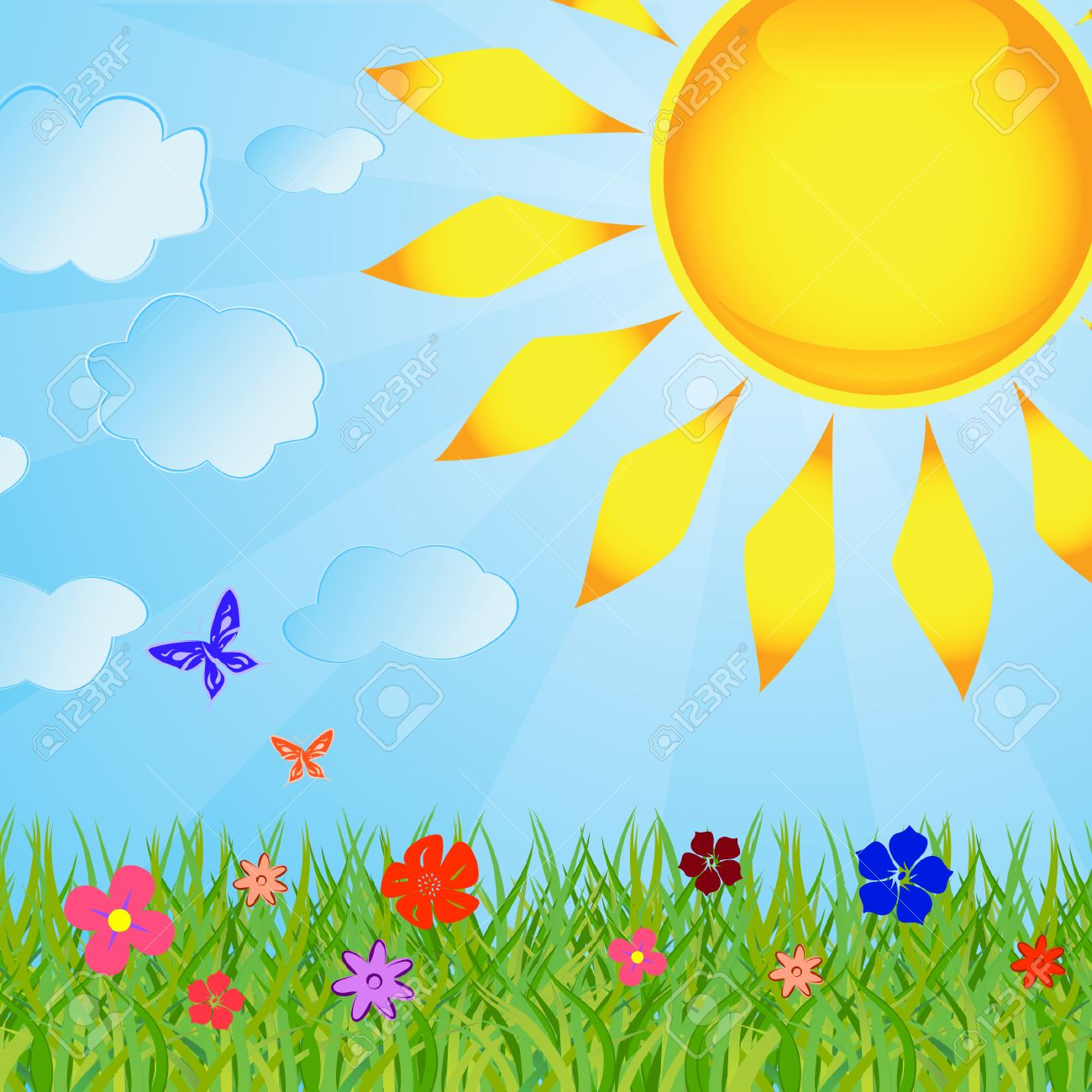 Clipart grass sun. Summer background with the
