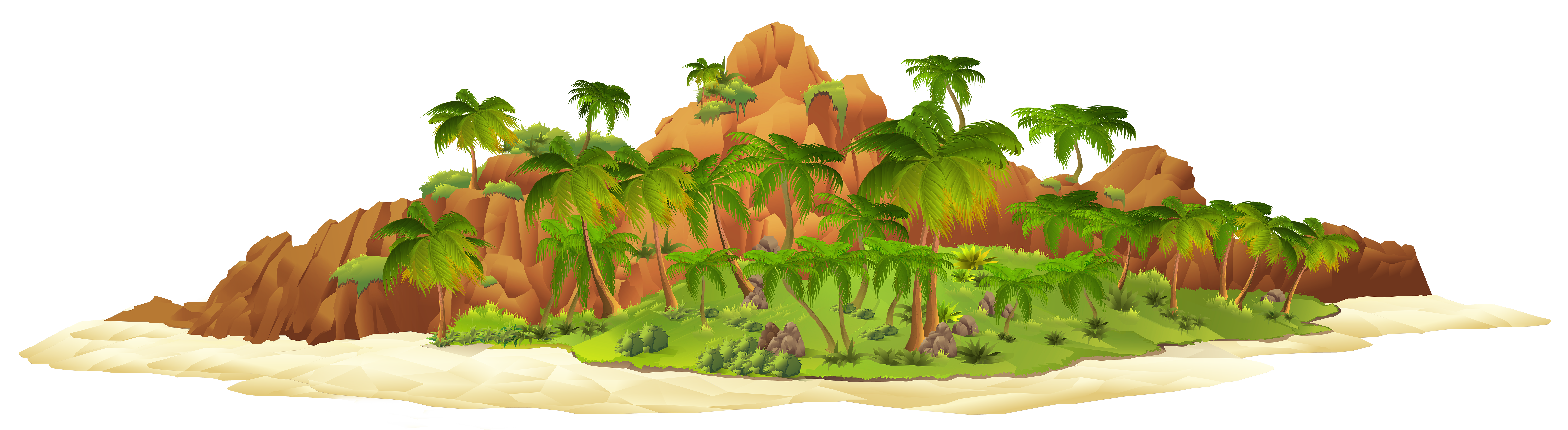 Island with palm trees. Tree clipart grass