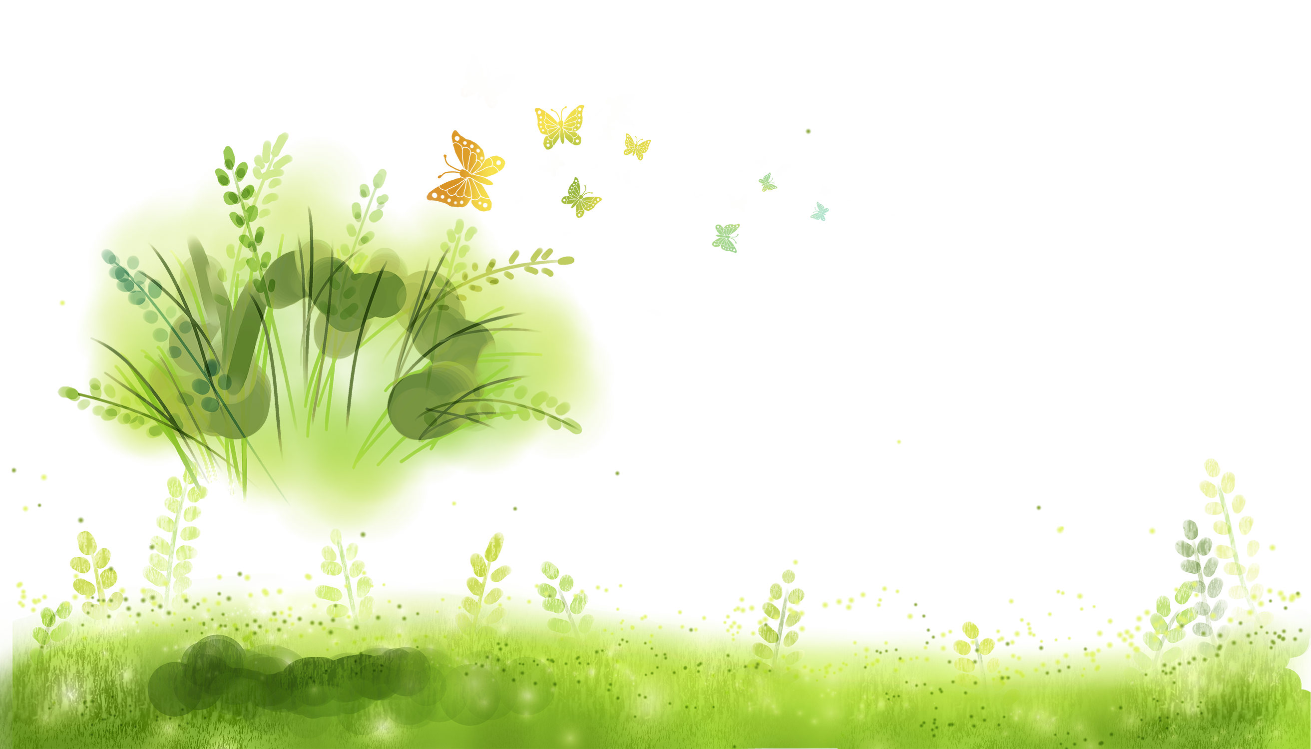 Green software lawn hand. Clipart grass watercolor
