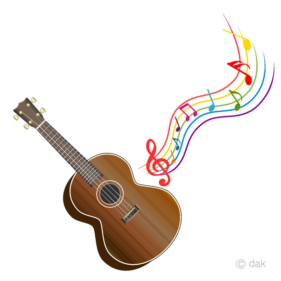 Clipart guitar. Ukulele and colorful music