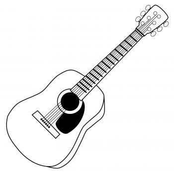 Black and white fancy. Clipart guitar