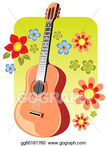 Clipart guitar 60 guitar. Stock illustration and flowers
