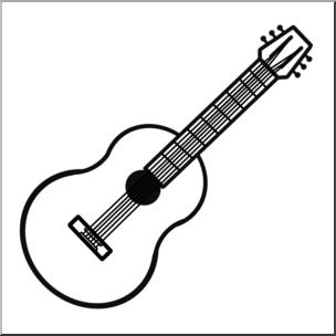 Clip art b w. Clipart guitar