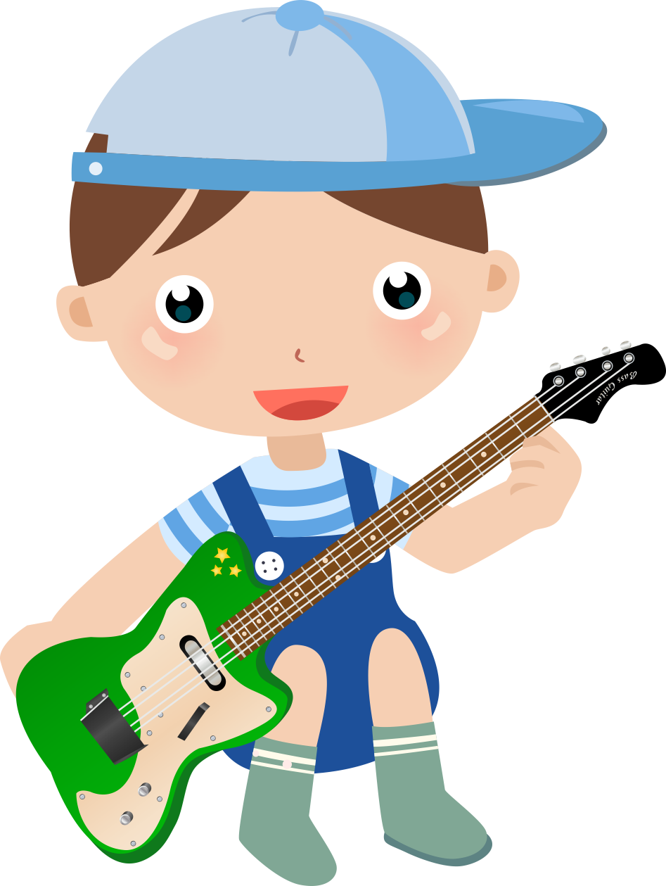 Clipart guitar baby. Boy playing vector labs
