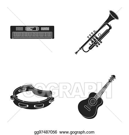 Clipart guitar bitmap. Drawing electro organ trumpet