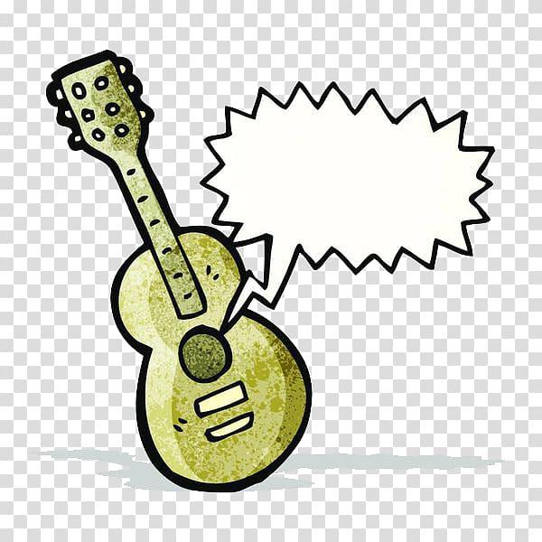 Cartoon violin introduction text. Clipart guitar box