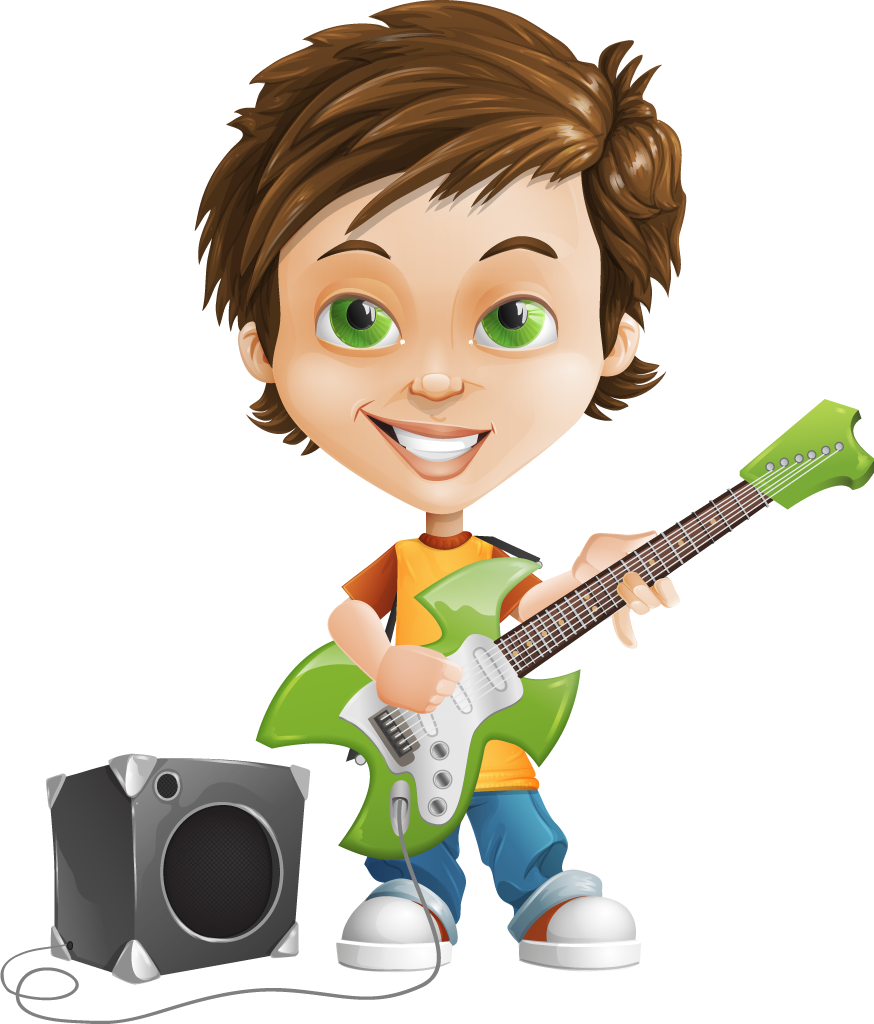 collection of playing. Clipart guitar boy
