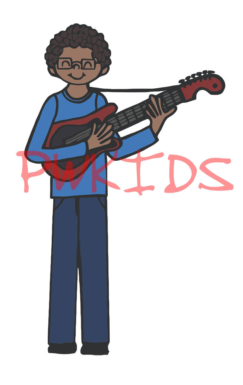 Clipart guitar boy. Children playing panda free