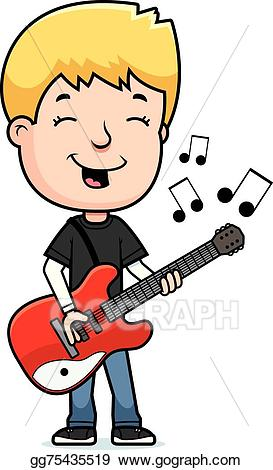 Vector art teen drawing. Clipart guitar boy
