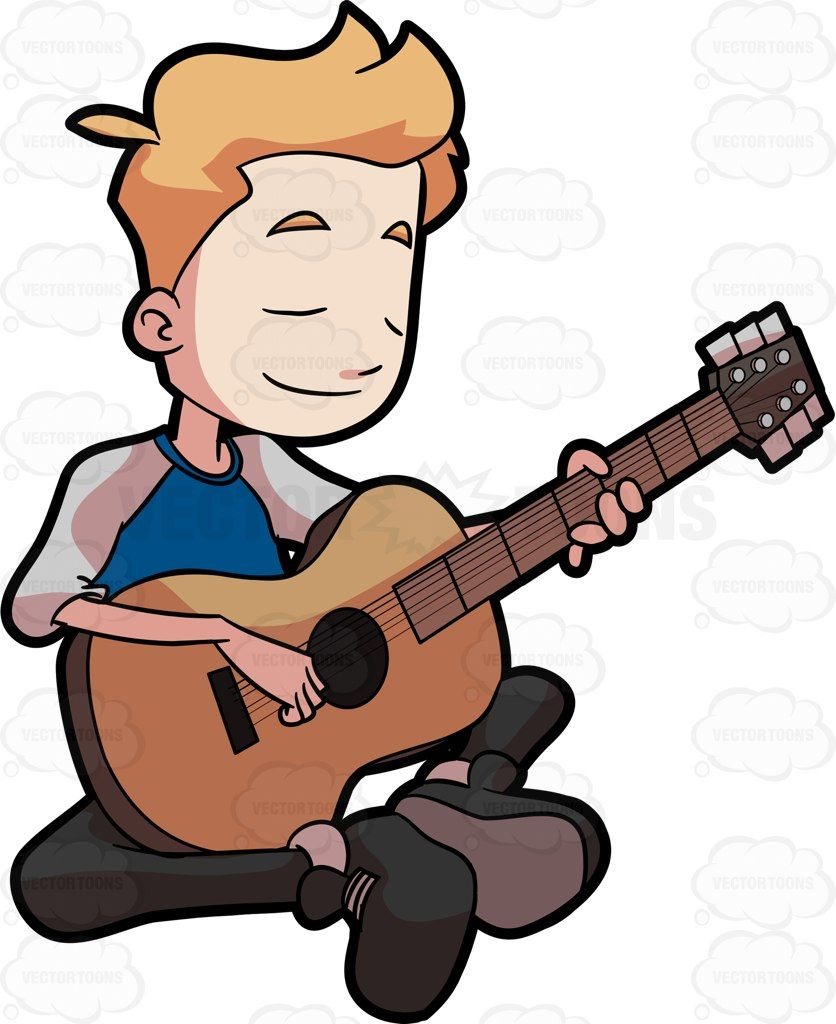 Clipart guitar boy. A preadolescent playing his