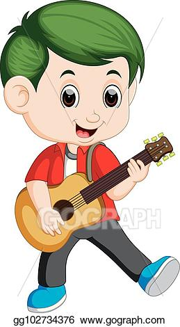 Clipart guitar boy. Eps illustration happy playing
