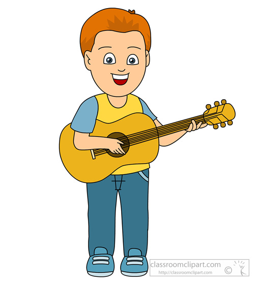 Com musical instruments playing. Clipart guitar boy