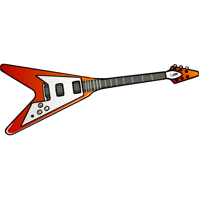 Clipart guitar cartoon. Gibson flying v electric