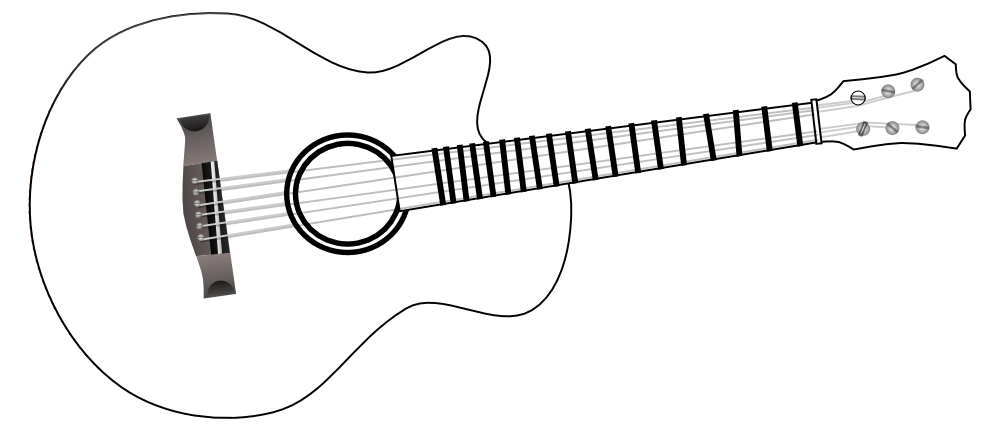 collection of black. White clipart guitar