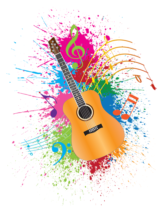 Clipart guitar colorful guitar. Paint splatter abstract illustration