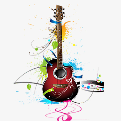 Clipart guitar colorful guitar. Png images