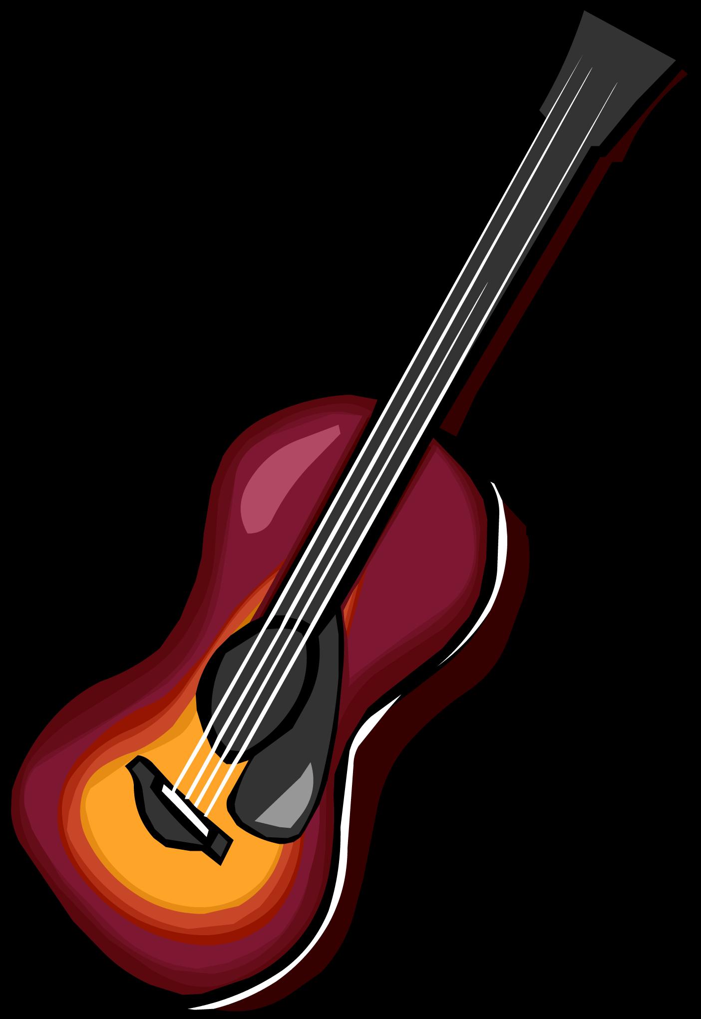 Acoustic sunburst club penguin. Clipart guitar cowboy hat