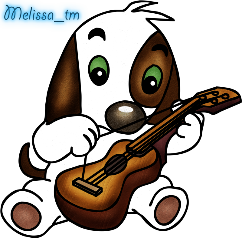 Dog playing the guitar. Piano clipart cute
