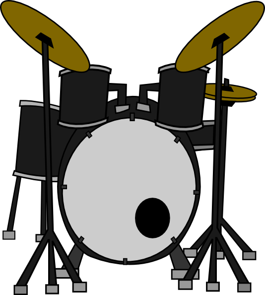 Drum set black and. Clipart guitar cymbal