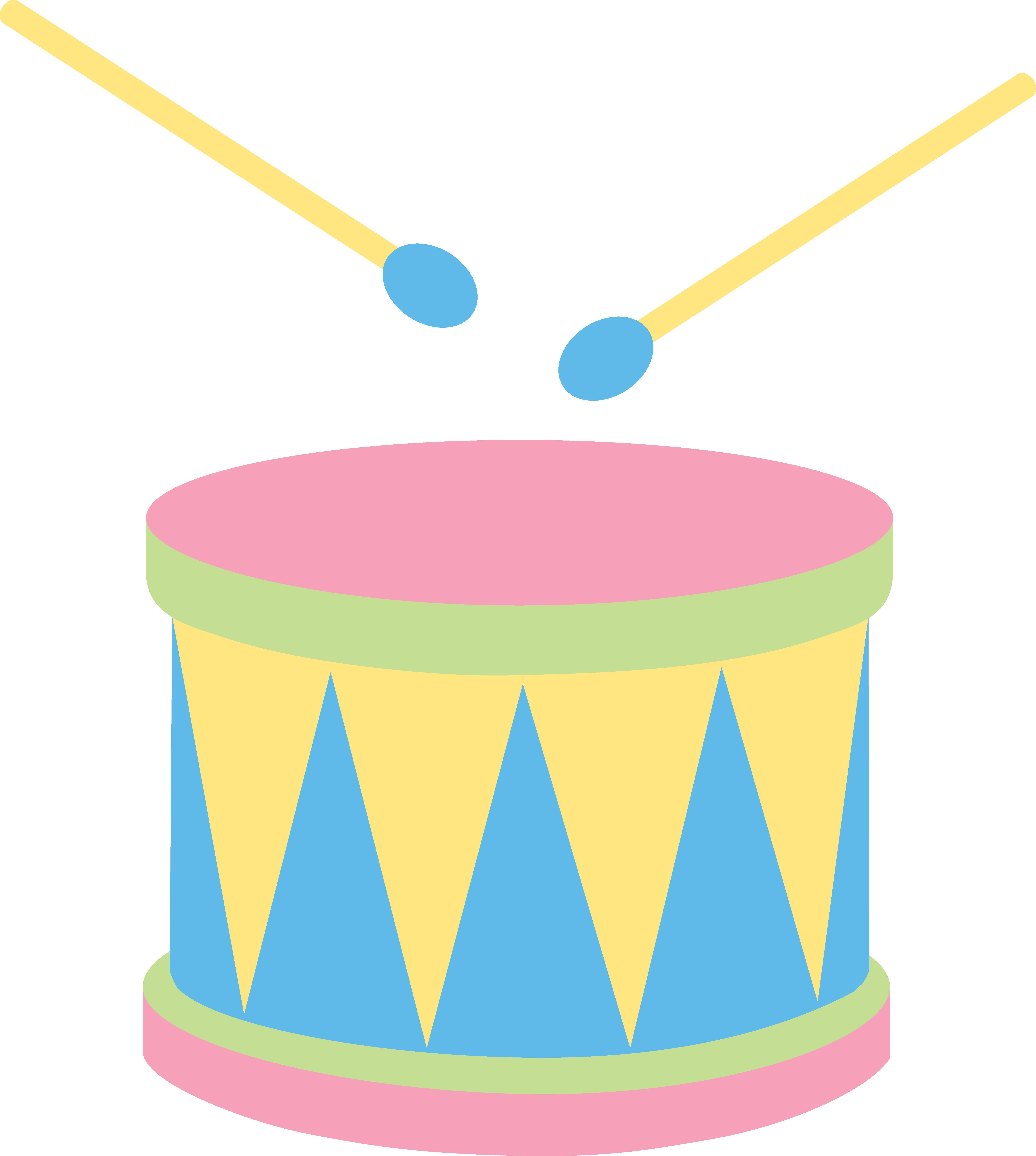 Clipart guitar drum. Pastel kids free clip