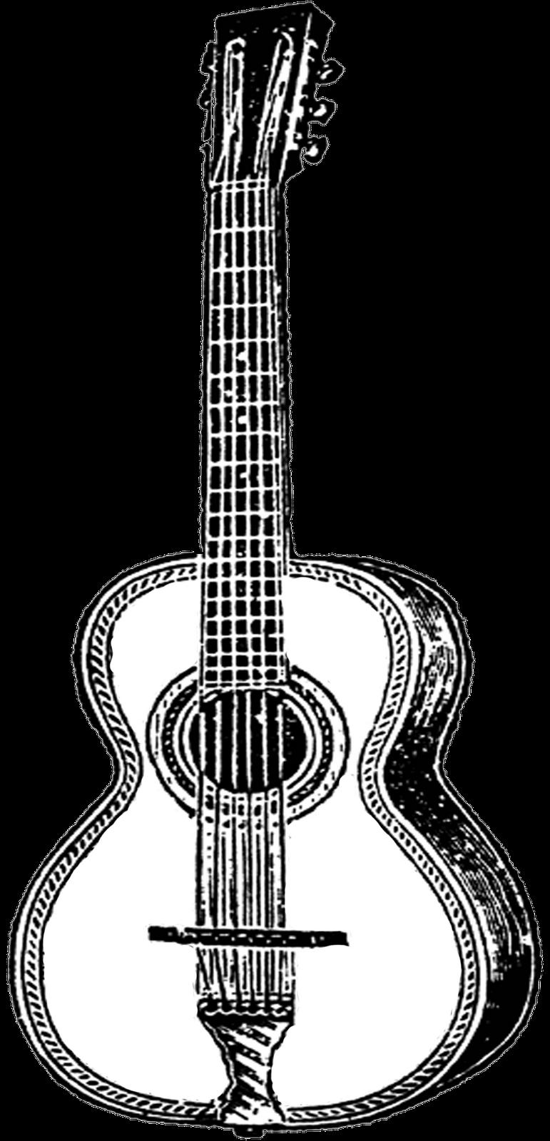 Clipart guitar easy. Free vintage digital stamps