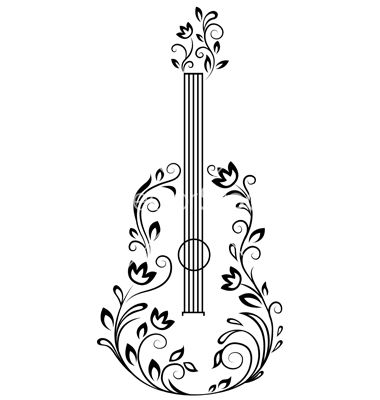 Clipart guitar floral. With details vector by
