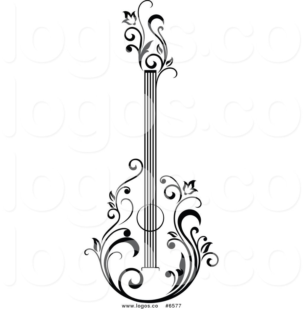 Black and white acoustic. Clipart guitar floral