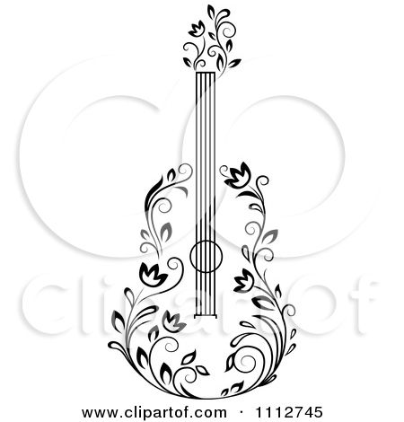 Clipart guitar floral. Black and white royalty
