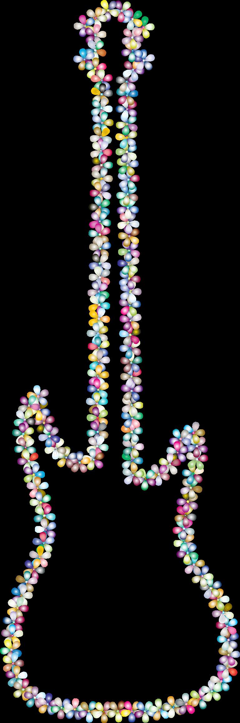 Prismatic outline big image. Clipart guitar floral