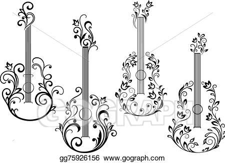 Vector art acoustic icons. Clipart guitar floral