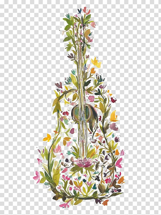 Clipart guitar floral. Yellow and pink petaled