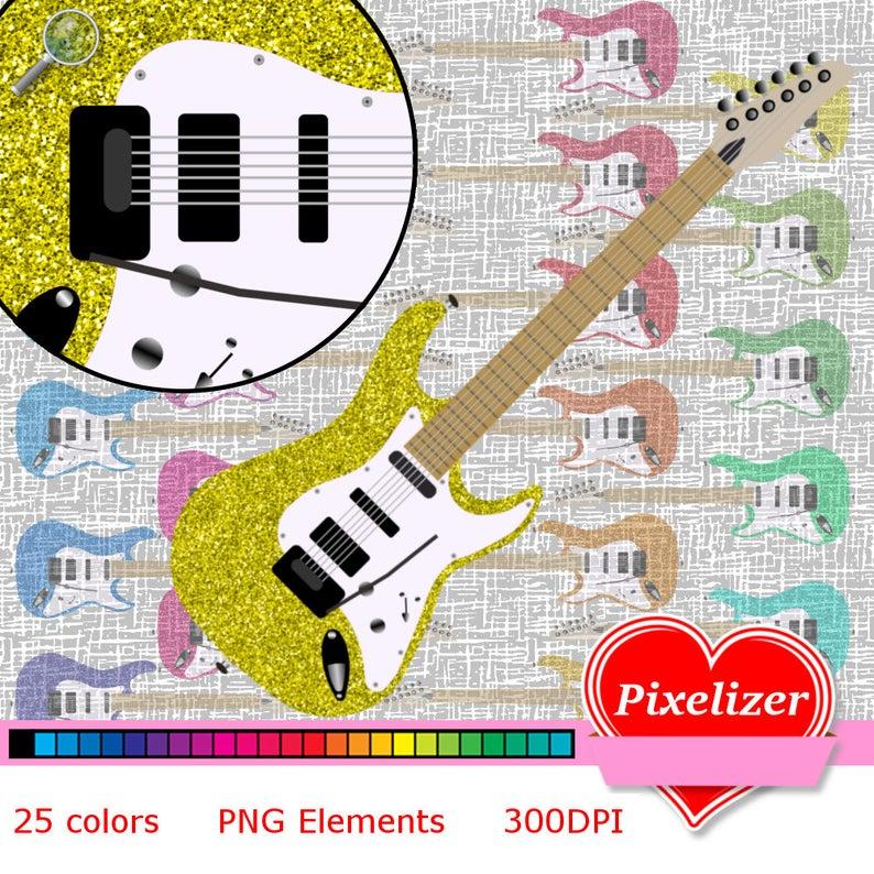Clipart guitar glitter. Digital electric guitars colors