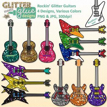 Clip art music instrument. Clipart guitar glitter