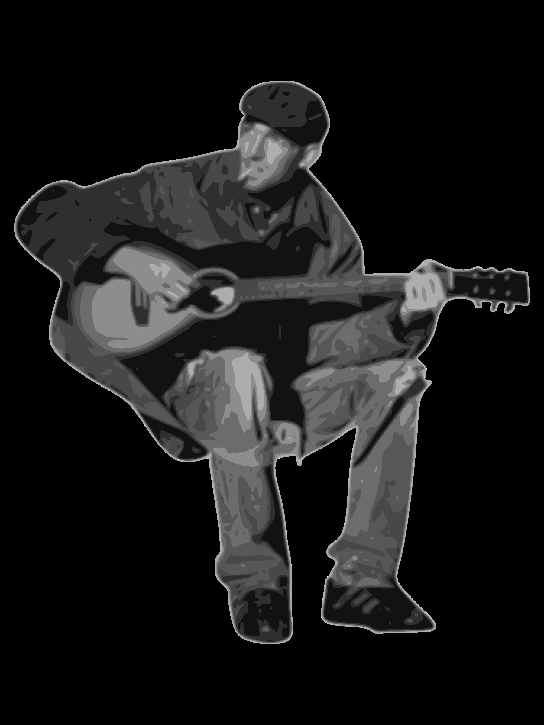 Man playing big image. Clipart guitar gray