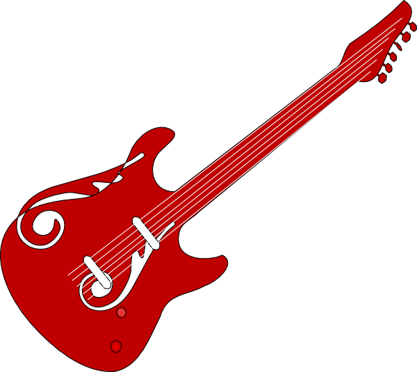 Red guitar clip art. Rock clipart outline