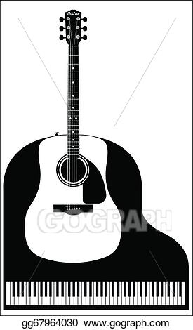 Piano clipart piano guitar. Vector art and drawing