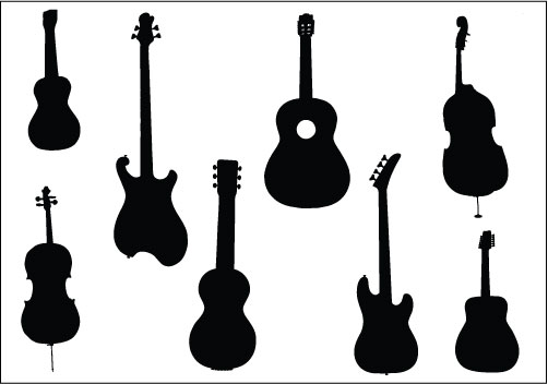 Free silhouette vector download. Clipart guitar handle