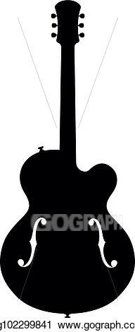 Vector illustration silhouette eps. Clipart guitar jazz guitar