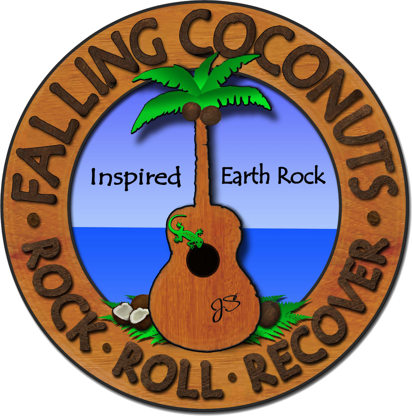 Falling coconuts band inspired. Clipart guitar laud