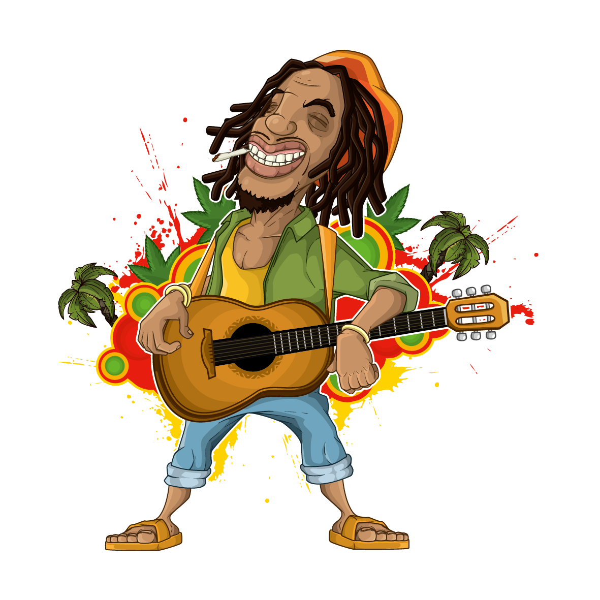 Clipart guitar microphone. Rastafari cartoon reggae illustration