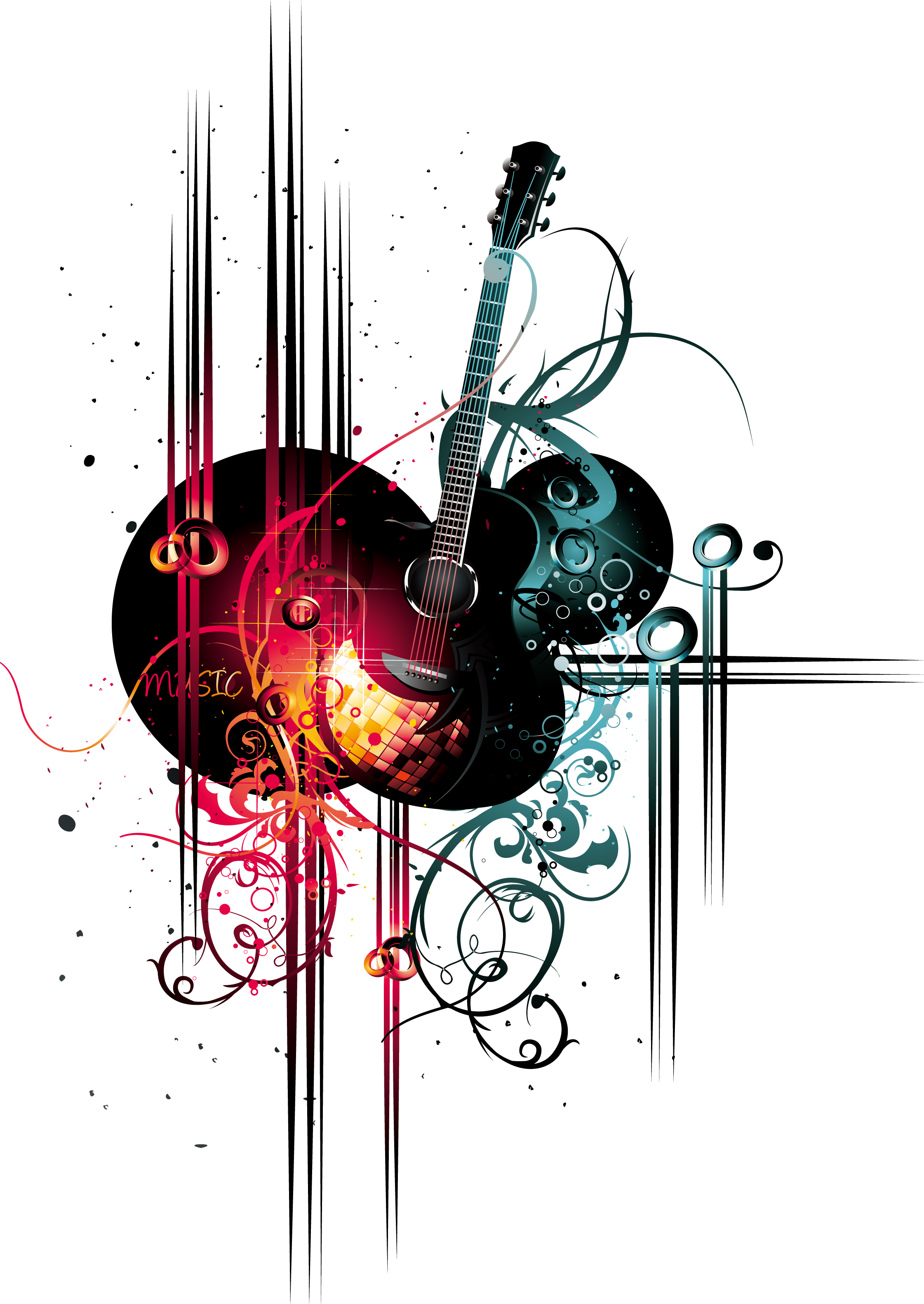 Clipart guitar microphone. Bar music ktv karaoke